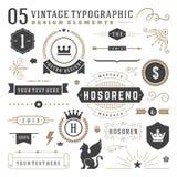 Retro vintage typographic design elements Stock Image