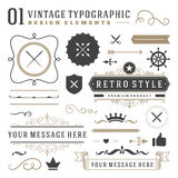 Retro vintage typographic design elements Royalty Free Stock Images