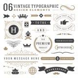 Retro vintage typographic design elements Stock Photos