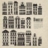 18 retro vintage urban city houses. Set of 18 retro vintage urban city houses silhouettes on grange background . Old city design design great for flyers Stock Photos