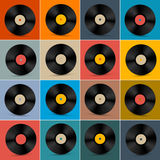 Retro, Vintage Vector Vinyl Record Disc Set Royalty Free Stock Image