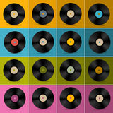 Retro, Vintage Vector Vinyl Record Disc Set Royalty Free Stock Photography