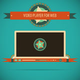 Retro vintage video player interface for web. Royalty Free Stock Photo