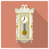 Retro vintage wall clock vector icon Stock Images