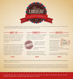 Retro vintage web page template. Retro vintage grunge web page template - red version Royalty Free Stock Photos