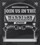 Retro Vintage Wedding Chalkboard invitation Royalty Free Stock Image