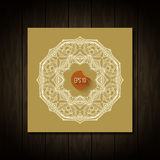 Retro Vintage wedding greeting card on wooden Stock Images