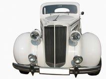 Retro vintage white dream car. Retro vintage white dream wedding luxury car isolated over white background Stock Photo