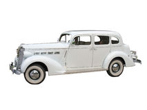 Retro vintage white dream wedding car isolated. Over white background Stock Image