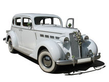 Retro vintage white dream wedding luxury car. Isolated over white background Royalty Free Stock Photography