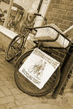 Retro vintage whitstable cycle hire sepia Royalty Free Stock Image