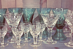 Retro Vintage Wine and Spirit Alcohol Glasses Stock Photos
