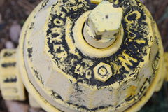 Retro vintage yellow fire hydrant- close-up Royalty Free Stock Photos