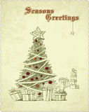 Retro vintagehand drawn vintage christmas tree sea Stock Photos