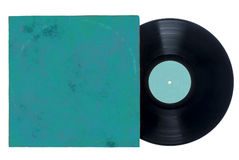 Retro vinyl long play record with blue sleeve. Royalty Free Stock Photos