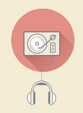 Retro vinyl player with headphones Stock Photography