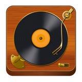 Retro Vinyl Player. Icon, White Backround, Vintage Turntable Royalty Free Stock Photo