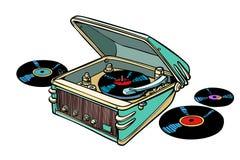 Retro vinyl player  on white background. Comic book cartoon pop art illustration retro drawing Stock Photo
