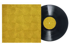 Retro Vinyl Record with Groove-textured sleeve. Retro long play vinyl record with gold, groove-textured sleeve and label on a white background with copy space royalty free stock images