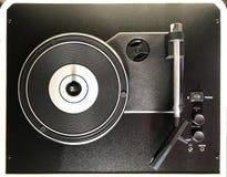 Retro vinyl record player top view. Turntable vinyl record player top view, sound technology royalty free stock photos