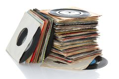 Retro vinyl 45rpm singles records. Pile of retro vinyl 45rpm singles records royalty free stock photos