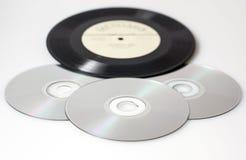 Retro- Vinyl und CD Stockfotografie