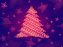 Retro violet background, christmas tree Stock Photo