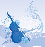 Retro violin winter illustration Stock Photo