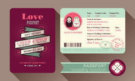 Retro Visa Passport Wedding Invitation card Stock Photo