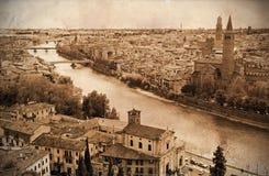 Retro vista disegnata 1of Verona, Italia Fotografie Stock Libere da Diritti