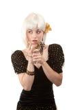 retro vit kvinna för hår Fotografering för Bildbyråer