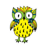 Retro vivid owl illustration Stock Photography