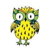Retro vivid owl illustration Stock Photography