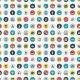 Retro vlak huis naadloos patroon Stock Afbeeldingen