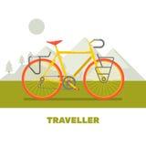 Retro Vlakke de kunst vectorillustratie van de fietsreis Stock Foto's
