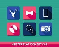 Retro vlakke geplaatste pictogrammen van de hipstersstijl. vector illustratie