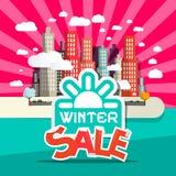 Retro Vlakke het Ontwerp Vectorillustratie van de de winterverkoop Royalty-vrije Stock Afbeeldingen