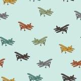 Retro vliegtuigen in verschillend in kleuren naadloos patroon stock illustratie
