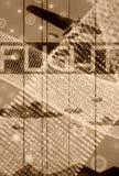 Retro vliegtuigvlucht op de achtergrond van halopunten Royalty-vrije Stock Foto's