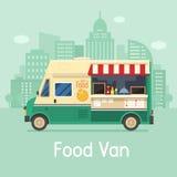 Retro Voedselbestelwagen op Stadsachtergrond Royalty-vrije Stock Foto's