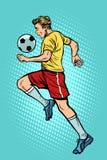 Retro voetbalster met een voetbalbal vector illustratie