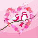 Retro- Vogel-Valentinsgruß mit Herzen Bokeh Stockfotografie