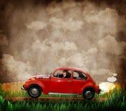 Retro- Volkswagen und Mann stockbilder