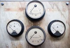 Retro voltmeter indicators Stock Photo