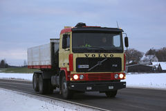 Retro Volvo F12 Tipper Truck on a Winter Night stock image