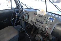 Retro Volvo N88 truck interior from 1972. Retro veteran Volvo truck interior N88 from 1972  in original shape with steering wheel and dashboard and Blaupunkt Stock Photography