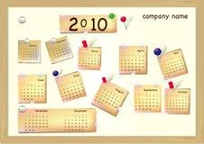 Retro- Vorstand mit Kalender und Aufklebern Stockfoto