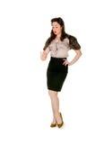 Retro vrouw, controlesvingernagels, die op wit worden geïsoleerd Stock Afbeelding