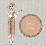 Retro vrouwen rokende sigaret, vectorillustratie Stock Afbeelding