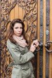 Retro vrouwendeur royalty-vrije stock afbeeldingen